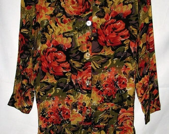 Vintage BIYA Rated R Boho Floral Dress in Earth Tones Loose Fit Drop Waist One Size