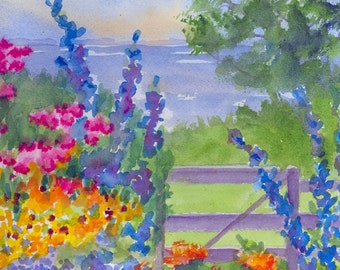 Celia Thaxter's Garden on Appledore Island at Isle of Shoals New Hampshire; matted watercolor print, gift bag,blank card