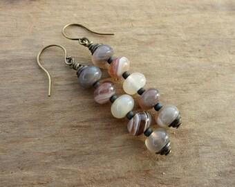 Botswana Agate Dangle Earrings, earthy neutral taupe & cream agate earrings, dainty rustic Bohemian stone pebble jewelry