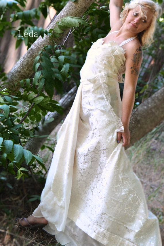 Non Traditional Wedding Dress Lace : Shabby chic non traditional lace alternative wedding dress