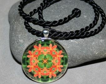 Mandala Pendant Necklace Leopard Flower Boho Chic New Age Sacred Geometry HIppie Kaleidoscope Hippie Mod Unique Gift Blooming Inspiration