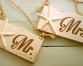 Beach Wedding Signs Mr. & Mrs. Chair Hangers with Starfish Brown Wedding, Khaki, Tan Wedding