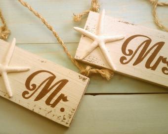 Beach Wedding Signs Mr. & Mrs. Chair Hangers with Starfish Brown Wedding, Khaki, Tan Wedding