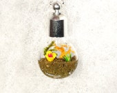 Nature Necklace, Garden Pendant Necklace, Flower Garden Necklace, Miniature Garden