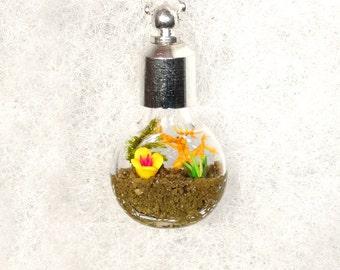 Botanical Necklace, Nature Necklace, Garden Pendant Necklace, Flower Garden Necklace, Miniature Garden