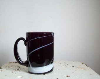 Antique amethyst blown glass mug stein amethyst glass white overlay must see late 1800s