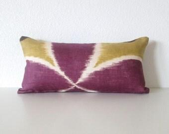 Mini Lumbar PIllow  cover - 8x16 - Plum Purple - Chartreuse - Ikat - Suzani - Cushion cover