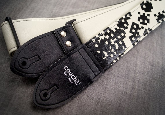 I am 8-bit Guitar Strap - 80s Video Game Style - Black and White