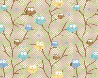 1 Yard Snips & Snails Owls / Brown - Riley Blake Designs