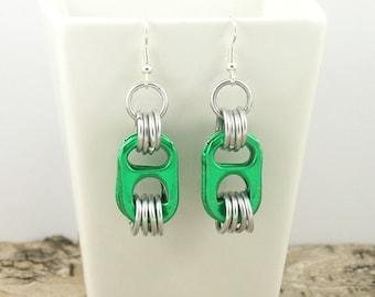 green pop tabs earrings - pair - aluminium chainmaille