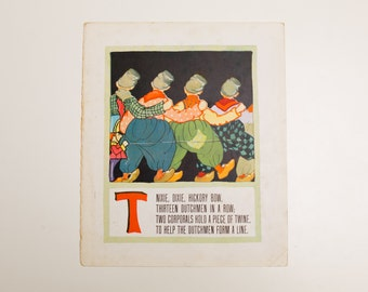 "Antique 1929 Letter ""T"" Monogram Mother Goose Book Page, Thirteen Dutchmen in a Row, 9.75""x11.75"""