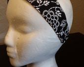 Black and White Floral Pattern Handmade Fabric Headband
