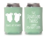 Personalized Twin Babies Baby Shower Favors, Can Coolers, Gender Reveal Party Gifts, Custom Can Coolies, Stubby Holders, Drink Insulators