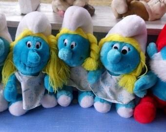 Smurfs Vintage 1979/1981 Plush Toys Papa Smurf Smurfette and Smurf  Buy one or buy them all lalalalalalaalalalalalalala