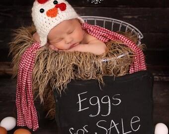 Newborn Crochet Chicken Hat Pattern : Unique crochet chicken hat related items Etsy