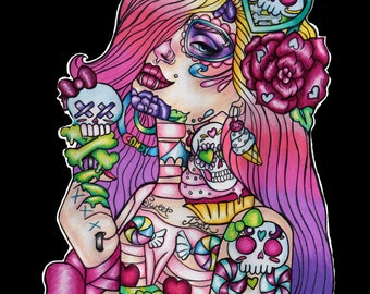 Sweet Tooth  - Archival Print 12x16 Inches Day of the Dead Ombre Hair  Bright girlie sugar skull ice cream dia de los muertos lowbrow art