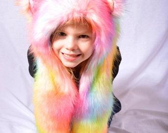 Children Rainbow Bear Faux Fur Hat