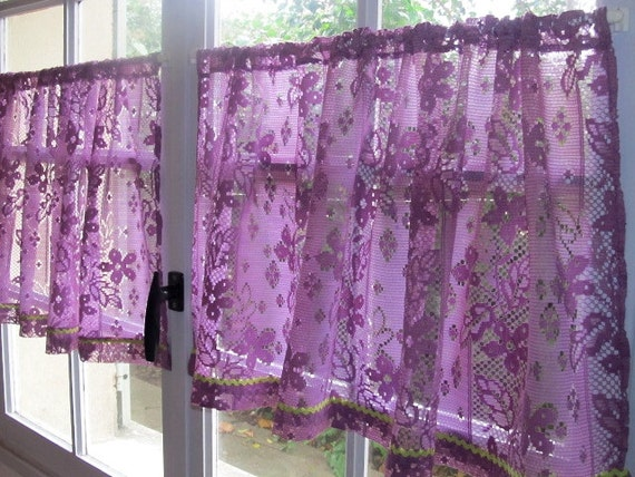 Country Curtains country curtains warrington : Aubergine Lace Cafe Curtains Purple Kitchen Curtains French