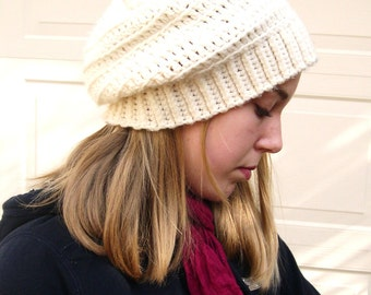 Cream slouchy hat, Fashion slouchy hat, Spring Fashion 2016, cozy hat,made to order, trends fashion slouchy hat
