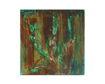 Tuscan Flower , Original Modern Contemporary Abstract Art Painting by Lisa Strassheim - Green  - Brown - Rust - Copper