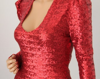 Bodysuit Red Sequin Long Sleeve Cosplay Costume Lady Gaga -CHRISST