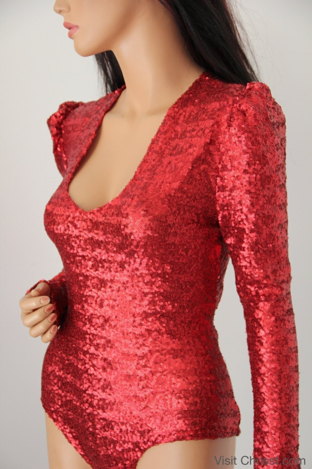 Bodysuit Red Sequin Lo...