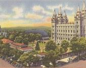Utah Postcard Salt Lake City Utah Temple Square - Vintage Linen Postcard Mormon Church - Salt Lake Temple Souvenir