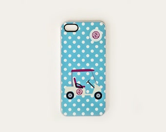 iPhone 4, 4S or 5, 5c, 5s , iPod Touch 4, Preppy Blue Polka Dot Golf Cart Cell Phone Case, Monogram iPhone Case