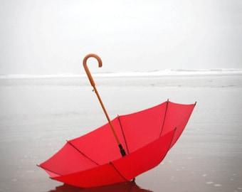Beach Photography, Red Umbrella, RED, Summer Photograph, Summer Rain, Cool, Misty, Fog, Beach, Ocean Photograph, Cannon Beach Oregon