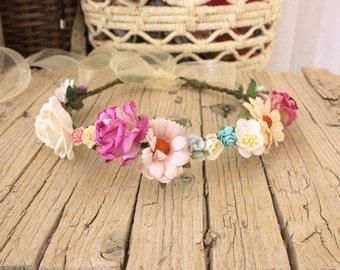 AURORA - Woodland Fairy Crown - Halo Floral Crown , Statement Crown, flower accessory Forest headband, festival crown Summer Retro halo