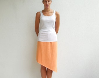 T Shirt Skirt Womens TShirt Skirt Orange Recycled Upcycled Asymmetric Straight Cotton Handmade For Her Soft Fun Fashion Skirt ohzie