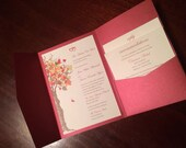 Fall Tree Crimson Red Wedding Invitation