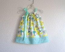 Baby Girls Hummingbird Pillowcase Dress and Bloomers Outfit -  Infant Aqua, Grey and Yellow Dress - Size  Newborn, 3m, 6m, 9m, 12m or 18m
