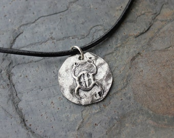 Ancient Scarab Disc on Leather Necklace -  Egyptian protection and luck symbol amulet coin charm - free shipping in USA - mens & womens