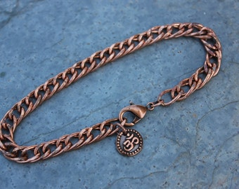 Copper Om bracelet or anklet - Solid Copper double curb chain - Tiny Buddhist zen symbol - Mens & Womens - free shipping usa - Buddha Aum