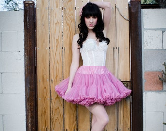 VTG Pink Rose MINI CRINOLINE Petticoat Steampunk Burlesque Skirt Rockabilly Slip Lingerie