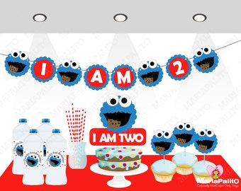 Cookie Monster Party  Set , banner, centerpiece, cupcake toppers and more A1042