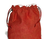 Orange Homespun Drawstring Project Bag