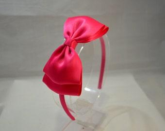 Big Shocking Pink Bow Headband. Teen Hair Accessories, Girls Hair Accessories, Large Pink Bow, Adult Hair Accessories, Pink Bow Headband