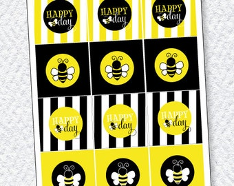 Bee Party PRINTABLES Party Tags (Instant Download) by Love The Day