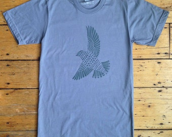 SALE - Black Bird on Gray T-Shirt Mens Unisex