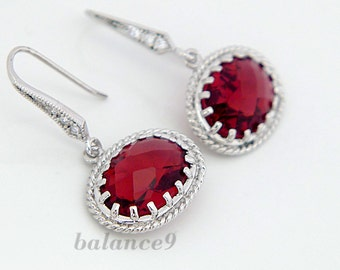 Ruby red earrings, crystal earrings, Silver framed crystal dangle, Cubic zirconia earwire bridesmaid gift, wedding jewelry, by balance9