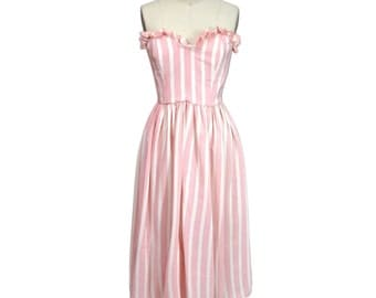 Vintage 1980's Pink and White Silk Stripe Party Dress