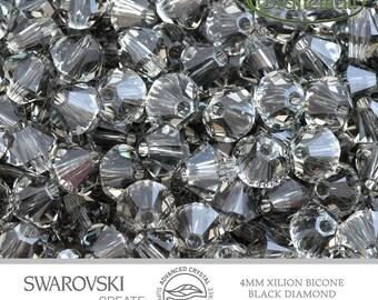 12 Swarovski 4mm Xilion Bicone - Black Diamond 5328 215 Advance Crystal