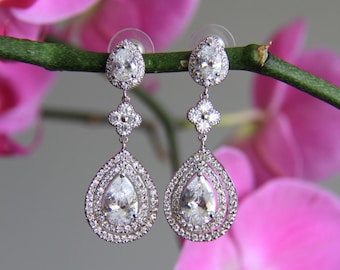 Wedding jewelry, wedding earrings, bridal earrings, silver and clear cubic zirconia earrings, cz earrings
