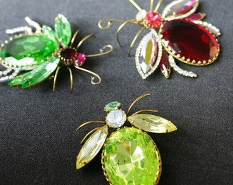 Bright neon green bug brooch. Christmas jewelry gift for her.