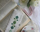 Victorian Lace Clover Cross Stitch Book Mark-Free Shipping