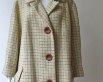 Stunning Vintage 1950s Cream and Green Plaid Wool Coat
