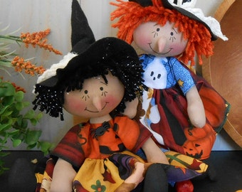 PDF E Pattern # 80 Raggedy Halloween Witch Doll Primitive Folk Art Fabric Sewing Craft