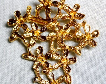 Brooch - One of a Kind Heavy Gold Tone Vintage Brooch Setting Grieger's Lapidary Flower Branch Asymmetric Design With Original Instructions